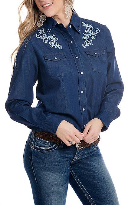 f3212d192e Cowgirl Hardware Women's Denim Long Sleeve Snap Western Shirt