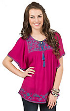 Umgee Women's Magenta with Blue Floral Embroidery Short Sleeve Fashion Top
