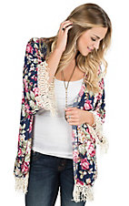 Umgee Women's Navy, Green, and Pink Floral Print Long Sleeve Kimono