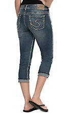 Silver Jeans Women's Medium Wash Suki Mid Rise Relaxed Fit Capri