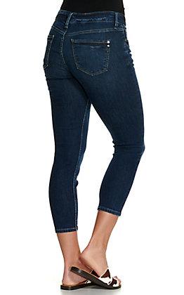 Silver Jeans Women's Suki Dark Wash Mid Rise Skinny Capri Jeans