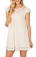 Hem and Thread Women's White Lace and Ruffle Sleeve Dress