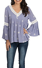 Hem & Thread Women's Blue Striped Floral Print with Crochet Bell Sleeve Babydoll Fashion Top