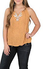 Hem and Thread Women's Burnt Mustard Halter Fashion Shirt
