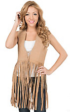 Cowgirl Legend Women's Tan with Stud Cross Fringe Vest