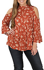 Hem and Thread Women's Rust Orange Floral Print Fashion Shirt