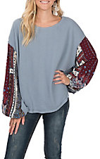 Umgee Women's Patchwork Blue Puff Sleeve Fashion Top
