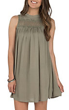 Hem and Thread Women's Olive Crochet Lace Halter Flare Dress