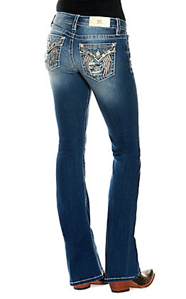 Miss Me Women's Dark Wash Bling Lace Wings Embroidered Low Rise Boot Cut Jean