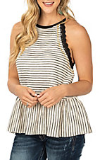 Hem and Thread Cream and Black Striped with Black Crochet Trim Tank Fashion Shirt
