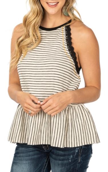 Nice Hem and Thread Cream and Black Striped with Black Crochet Trim Tank Fashion Shirt