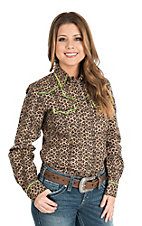 Wired Heart Women's Brown Animal Print with Green Trim Long Sleeve Western Shirt