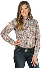 Wired Heart Women's Tan Animal Print with Turquoise Trim Long Sleeve Western Shirt
