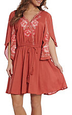 Umgee Women's Marsala Floral Embroidered Dress