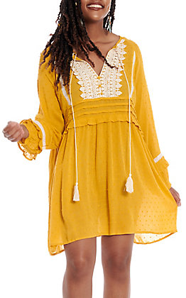 UMGEE Women's Honey Polka Dot Long Sleeve Dress