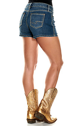 Silver Jeans Elyse Curvy Mid Rise Frayed Hem Shorts