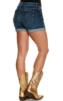 Silver Jeans Women's Dark Wash Mid Rise Boyfriend Shorts