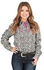 Wired Heart Women's Black and White Leopard Print with Pink Embroidery Long Sleeve Retro Shirt