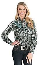 Wired Heart Women's Black Animal Print with Turquoise Trim Long Sleeve Western Shirt