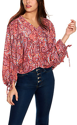 Umgee Women's Pink Multi-Colored Paisley V-Neck Long Sleeve Top