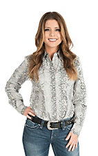 Wired Heart Women's Black Snake Skin Print Long Sleeve Western Snap Shirt