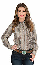 Wired Heart Women's Brown Snake Skin Print Long Sleeve Western Snap Shirt