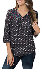 Cowgirl Legend Women's Red, Black, White and Blue Diamond Print Mix with Embroidery Peasant Fashion Shirt