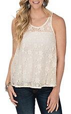 Cowgirl Legend Women's Ivory Lace Tank Fashion Shirt