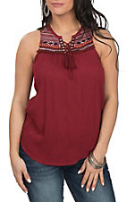 Cowgirl Legend Women's Wine Embroidery Tank
