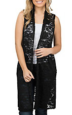 Wired Heart Women's Black Lace Long Vest