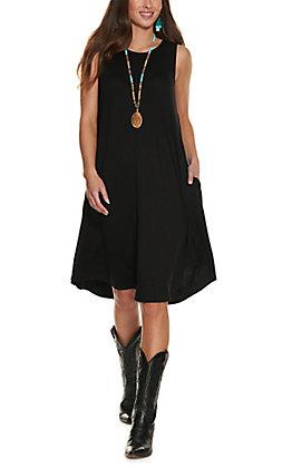 Panhandle Women's Black Knit Sleeveless Dress