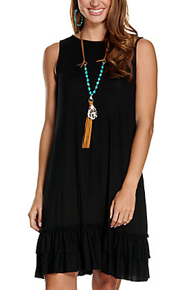 Panhandle Women's Black with Ruffle Trim and Pockets Jersey Knit Sleeveless Dress