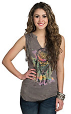 Panhandle Women's Grey with Multicolor Dream Catcher Fringe Tank