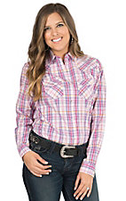 Wired Heart Women's Pink & Purple Plaid Long Sleeve Western Shirt