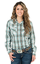 Wired Heart Women's Turquoise & Brown Plaid Long Sleeve Western Shirt