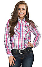 Wired Heart Women's Pink & Blue Plaid Long Sleeve Western Shirt