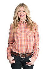 Wired Heart Women's Coral and Purple Plaid Long Sleeve Western Snap Shirt
