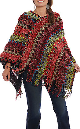 Panhandle Women's Black Multi Colored Crochet Poncho