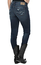 Silver Jeans Aiko Women's Dark Wash Mid Rise Open Pocket Skinny Jeans