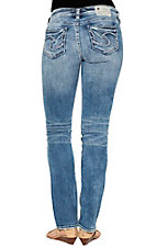 Silver Jeans Women's Medium Wash with White and Navy Embroidered Open Pockets Slim Boot Cut Jeans