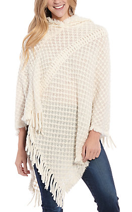 Panhandle Women's White Hoodie Sweater Poncho