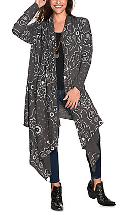 Panhandle Women's Grey Bandana Print Waterfall Long Sleeve Cardigan