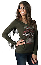 Panhandle Slim Women's Green Vintage Screen Print Top with Fringe