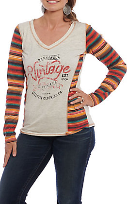 Panhandle Women's Cream and Serape Stripe Vintage Graphic Casual Knit Top