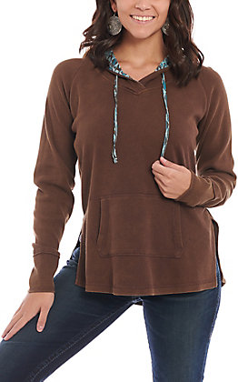 Panhandle Women's Brown Waffle Knit Pull Over Hoodie