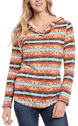 Panhandle Women's Multi Aztec Print Long Sleeve Hooded Shirt