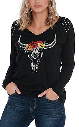 Panhandle Women's Black Floral Steerhead Long Sleeve Top