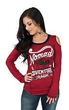 Panhandle Women's Red Cold Shoulder Native Nomad Graphic Casual Knit Shirt