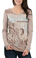 Panhandle Women's Tan Cross Roads Long Sleeve Casual Knit Shirt