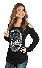 Panhandle Women's Black Cowgirl Graphic Cold Shoulder Casual Knit Shirt